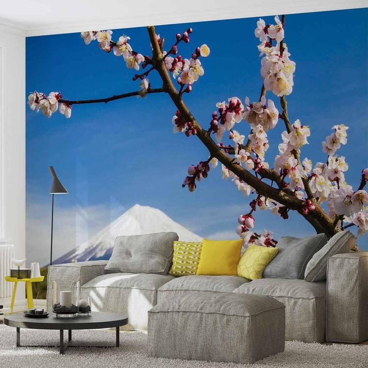 fleurs montagne neige nature poster mural papier peint acheter le sur. Black Bedroom Furniture Sets. Home Design Ideas