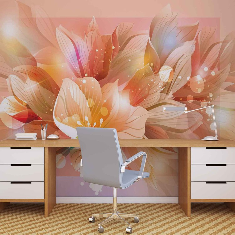 fleurs nature orange poster mural papier peint acheter le sur. Black Bedroom Furniture Sets. Home Design Ideas
