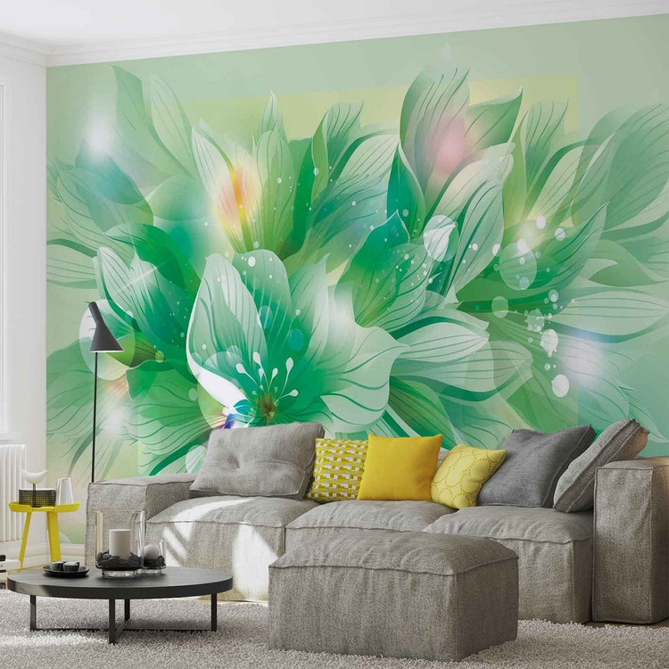 fleurs nature vert poster mural papier peint acheter le sur. Black Bedroom Furniture Sets. Home Design Ideas