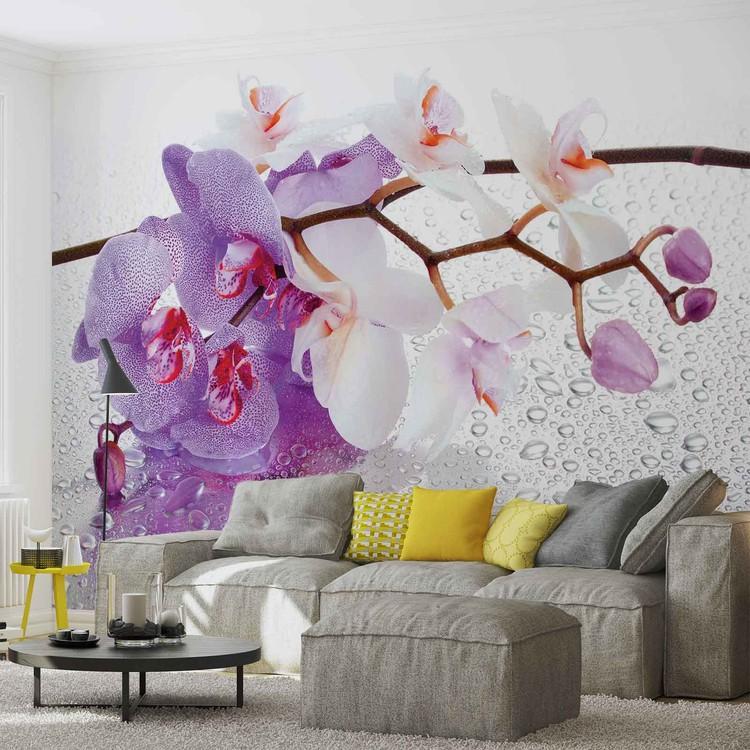 Fleurs Orchidées Gouttes Photo Papier Peint Mural Toison facile installer papier