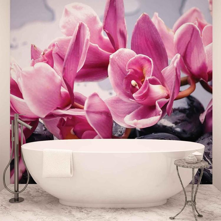 Fleurs Orchidées Pierres Zen Poster Mural XXL