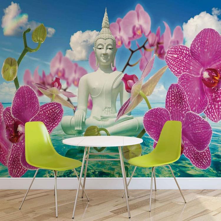 Fleurs Zen Orchidees Bouddha Eau Ciel Poster Mural Papier Peint