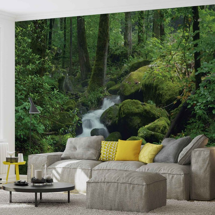 for t cascade rochers nature poster mural papier peint acheter le sur. Black Bedroom Furniture Sets. Home Design Ideas