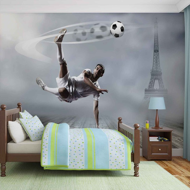 joueur de football paris poster mural papier peint acheter le sur. Black Bedroom Furniture Sets. Home Design Ideas