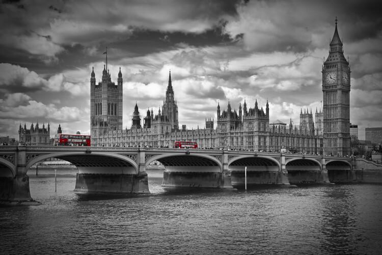 LONDON Westminster Bridge & Red Buses Poster Mural XXL