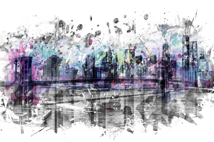 Modern Art NEW YORK CITY Skyline Splashes Poster Mural XXL