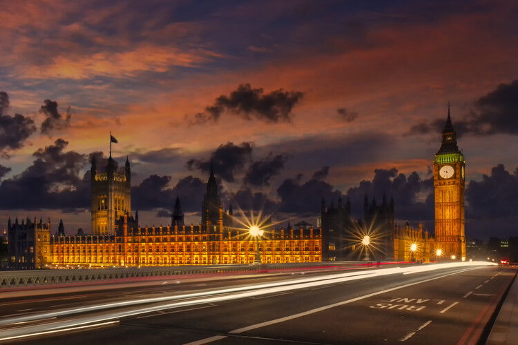 Nightly view from London Westminster Poster Mural XXL