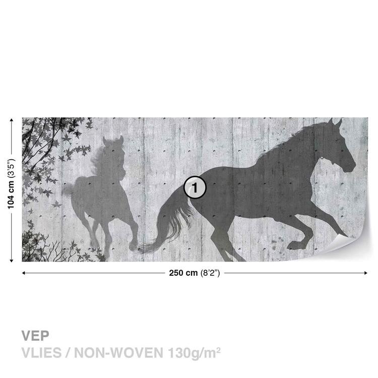 papier peint chevaux arbres et feuilles poster mural papier peint acheter le sur. Black Bedroom Furniture Sets. Home Design Ideas