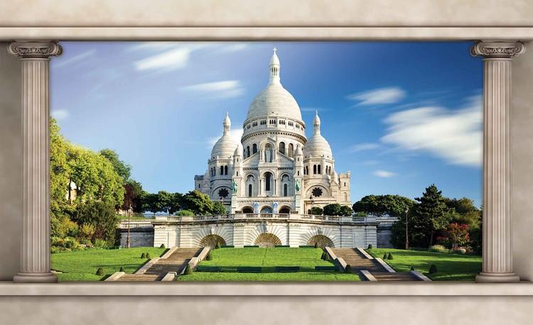 Paris Sacre Cœur Vue De Fenêtre Poster Mural Papier Peint Acheter