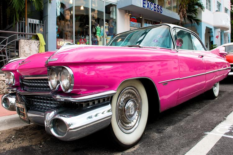 Pink Classic Car Poster Mural XXL