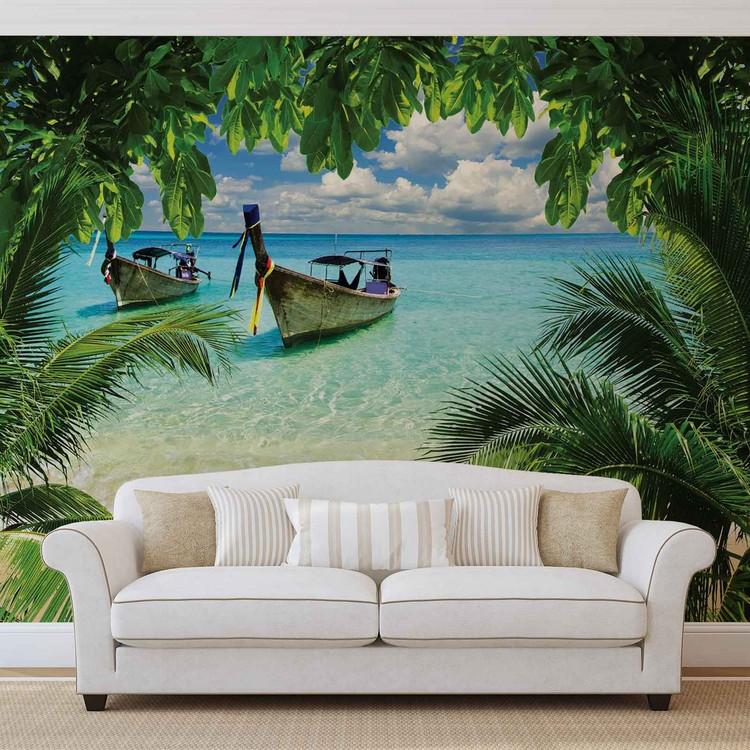 plage paradis tropical bateau poster mural papier peint. Black Bedroom Furniture Sets. Home Design Ideas