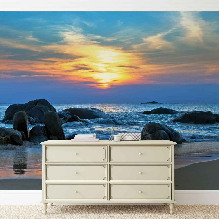 plage rochers mer coucher soleil poster mural papier peint acheter le sur. Black Bedroom Furniture Sets. Home Design Ideas