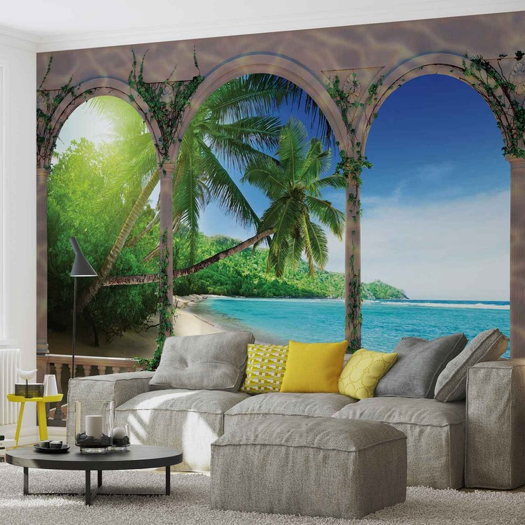 plage tropicale poster mural papier peint acheter le sur. Black Bedroom Furniture Sets. Home Design Ideas