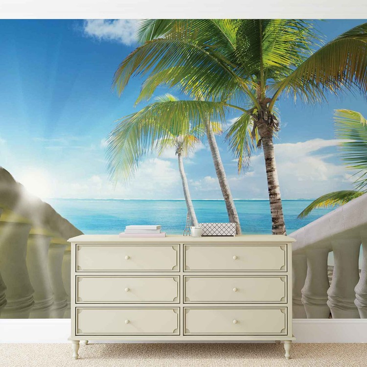plage tropicale mer palmiers poster mural papier peint acheter le sur. Black Bedroom Furniture Sets. Home Design Ideas