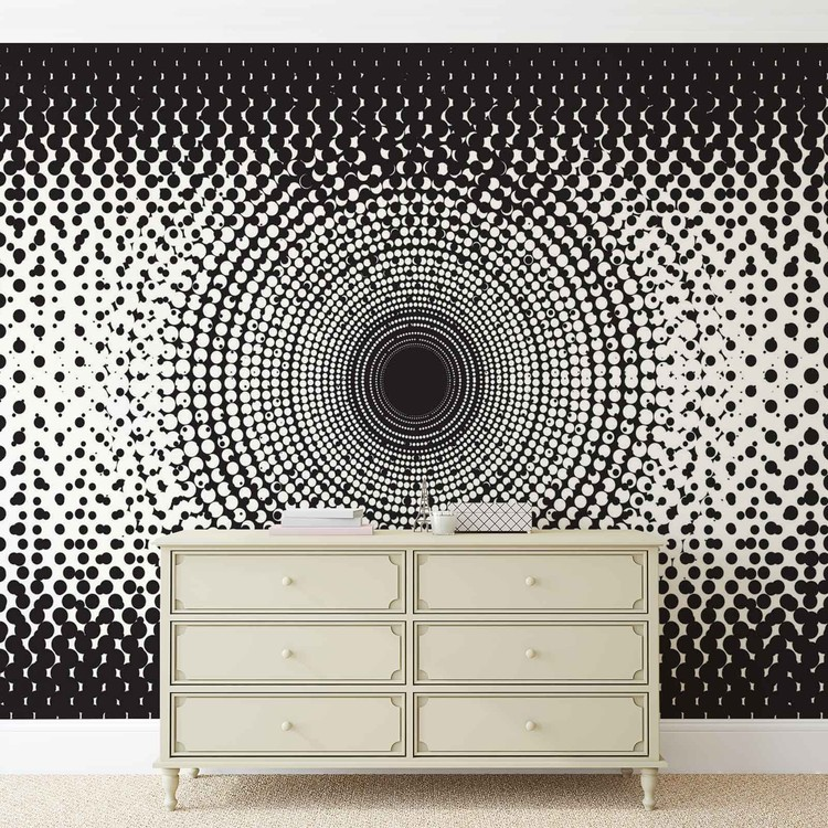 points noir et blanc abstraits poster mural papier peint acheter le sur. Black Bedroom Furniture Sets. Home Design Ideas