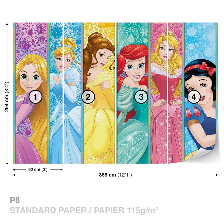 Princesses Disney Aurora Belle Ariel Poster Mural XXL