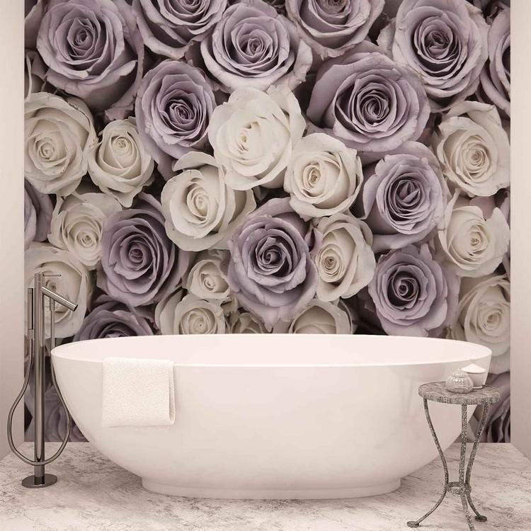 Roses Fleurs Blanches et Violettes Poster Mural XXL