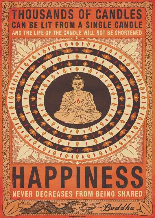 Thousand of Candles - Buddha, Happiness Poster Mural XXL