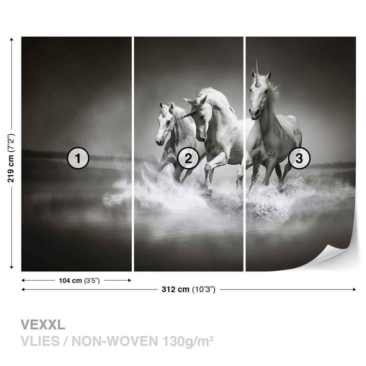 unicornes chevaux noir blanc poster mural papier peint acheter le sur. Black Bedroom Furniture Sets. Home Design Ideas