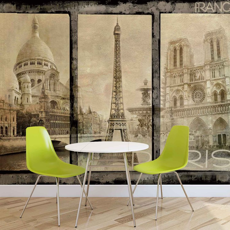 ville de paris poster mural papier peint acheter le sur. Black Bedroom Furniture Sets. Home Design Ideas
