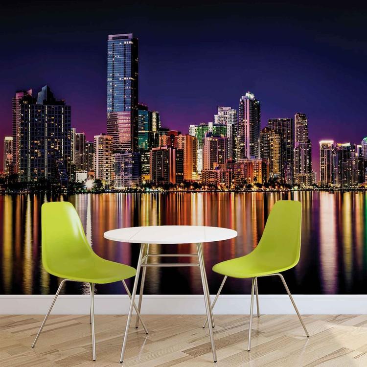 ville new york horizon de nuit poster mural papier peint acheter le sur. Black Bedroom Furniture Sets. Home Design Ideas