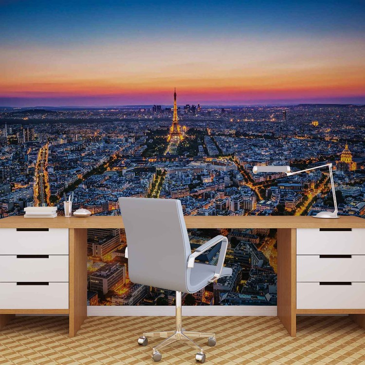 ville paris coucher de soleil tour eiffel poster mural papier peint acheter le sur. Black Bedroom Furniture Sets. Home Design Ideas