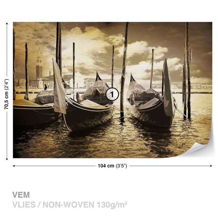 Ville Vénice Gondoles Bateaux Sépia Poster Mural XXL