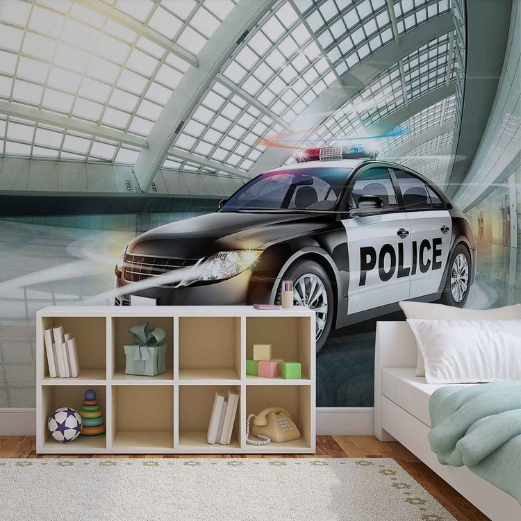 voiture de police poster mural papier peint acheter le sur. Black Bedroom Furniture Sets. Home Design Ideas