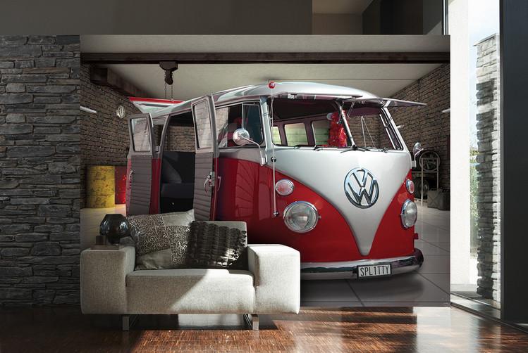 Volkswagen - Red camper van Poster Mural XXL