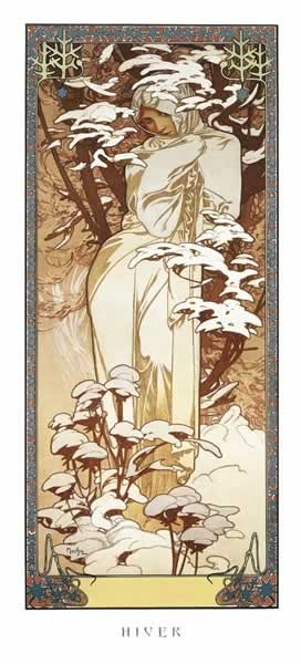 Poster Alfons Mucha – hiver, 1900