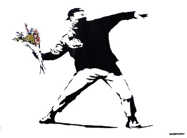 Poster Banksy street art - graffiti throwing flowers