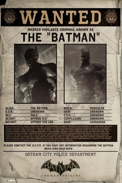 Poster BATMAN ORIGINS - wanted