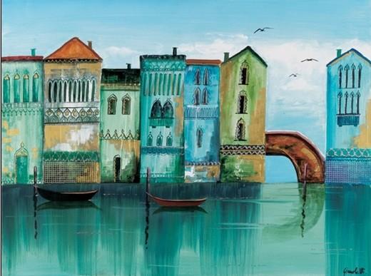 Konsttryck Blue Venice