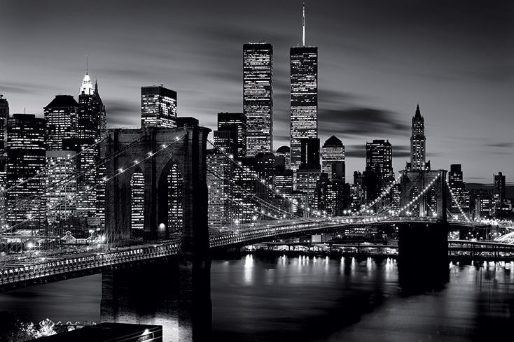 Плакат Brooklyn bridge (B&W)