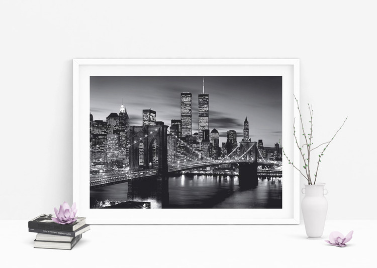 Poster Brooklyn bridge (Zwart Wit)