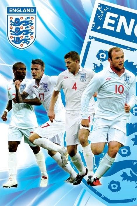 Poster England side 2/2 - rooney,gerrard, beckham & defoe