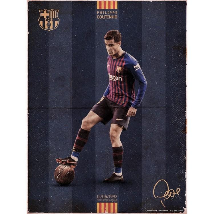 f03a213ff Poster & Affisch FC Barcelona - Coutinho Vintage på EuroPosters.se