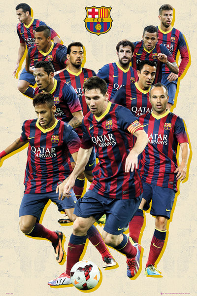 Poster FC Barcelona - players vintage
