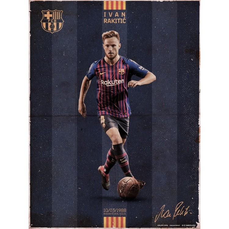 a3a81b667 Poster FC Barcelona - Rakitic Vintage Poster FC Barcelona - Rakitic Vintage