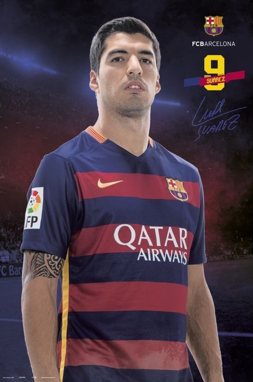 Poster FC Barcelona - Suarez pose 2015/2016