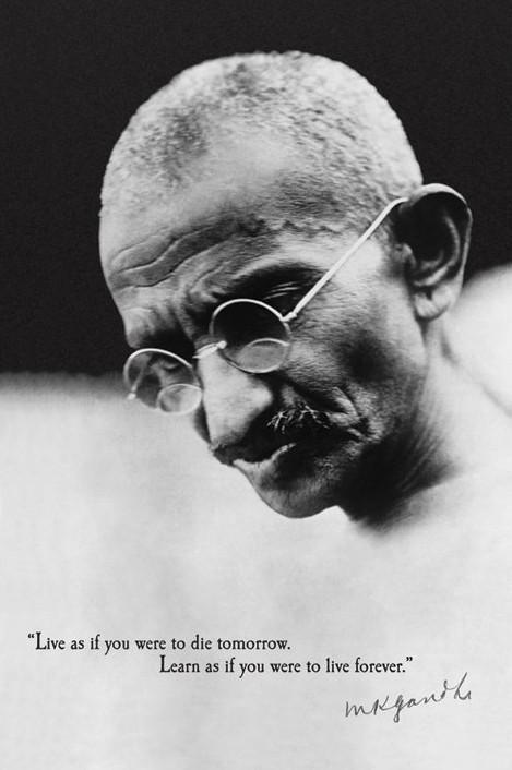 Poster Gandhi - live forever