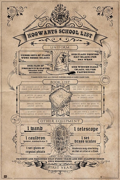 Poster  Harry Potter - Hogwarts School List
