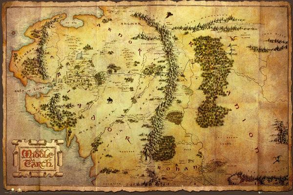 Poster Hobbit - karta över Midgård