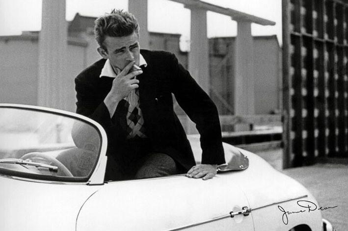 Poster James Dean - white car