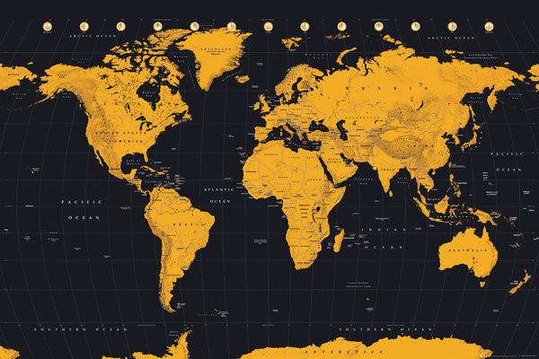 Poster Karte von Welt, Weltkarte - Gold World Map