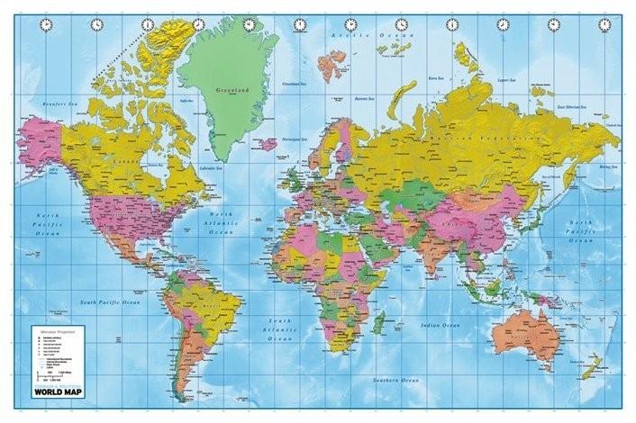 Historische Weltkarte Tapete : World Political Map