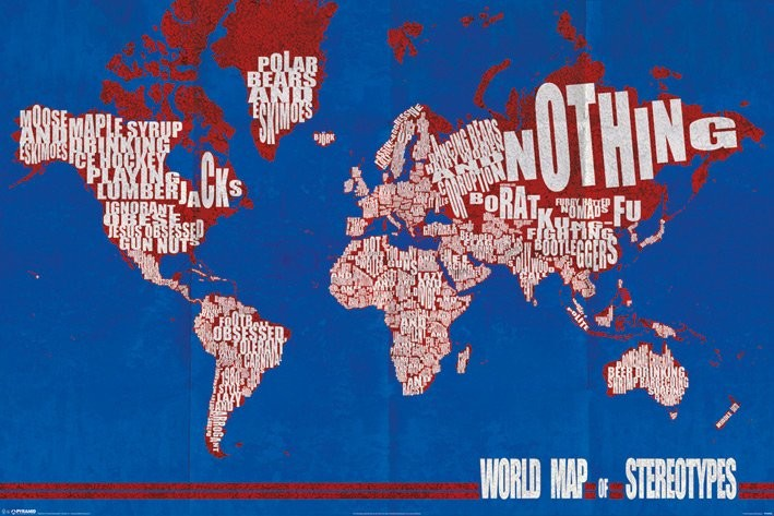 Poster Karte von Welt, Weltkarte - stereotypes