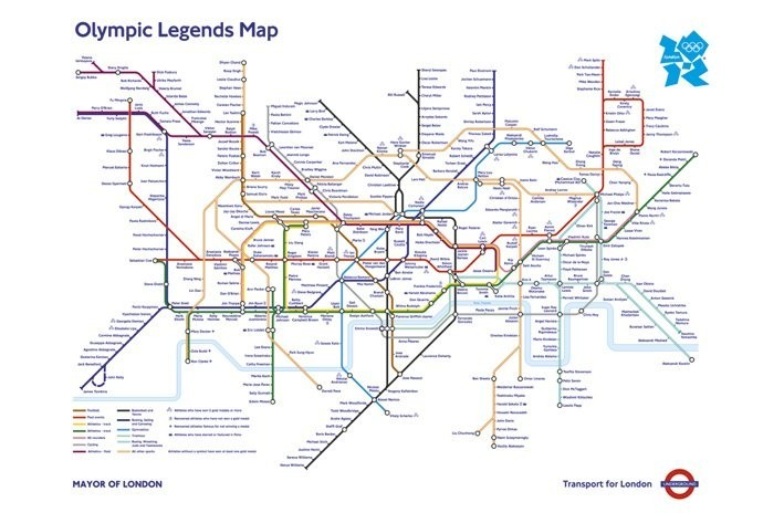 Poster Affisch Londons Tunnelbana Karta Olympic Games Pa