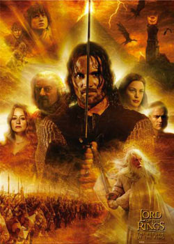 Poster Lord of the Rings - heroes flames