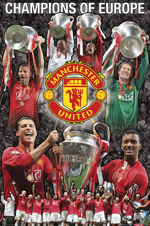 Poster Manchester United - Euro collage 07/08